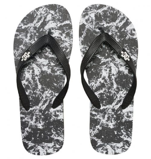 DC SHOES MENS FLIP FLOPS.SPRAY GRAFFIK BLACK THONGS / BEACH SANDALS 7S 3276 KPW